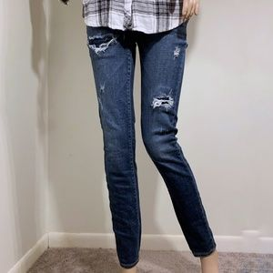 American Eagle Skinny Ripped Blue Jeans Size 0